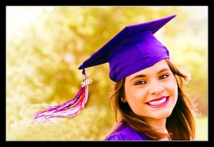 Smiling girl in graduation cap