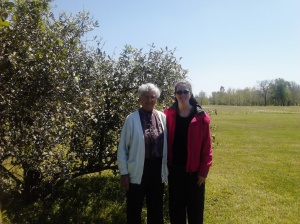 Sr Kathleen Bahlinger and I with the lemon tree next to what used to be the kitchen. It still produces lemons each year.