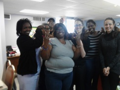 Students I met at SVdP Adult Learning Center. Sr Kathleen put me right to work tutoring a woman studying for the GED Test. In the center they are celebrating a recent graduate.