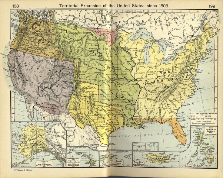 The United States 1783, Louisiana Purchase from France 1803, The Texan Annexation 1845, Oregon Country 1846, Acquired from Mexico 1848, Gadsden Purchase 1853
