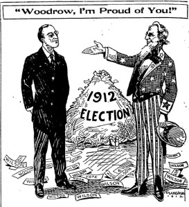 "Uncle Sam says to newly elected President Wilson, ""Woodrow, I'm Proud of You!"""