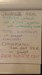 "historical context with contemporary ""hook"" question, topic sentences, conclusion, conversation to THINK about ideas in prompt, read aloud to edit"