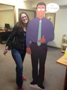 Meagen and cardboard cut out