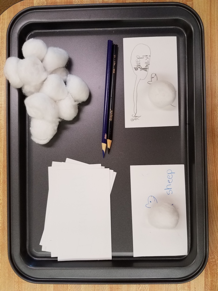 Index cards, cotton balls, colored pencils, all make sheep