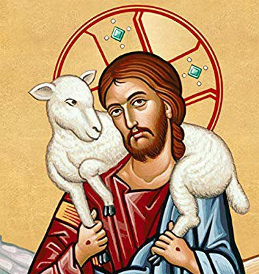 The Good Shepherd carries the found sheep