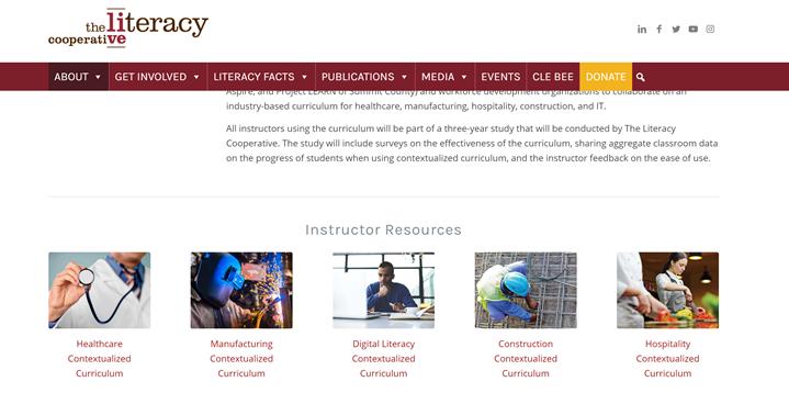Website listing Instructor Resources